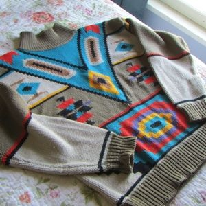 Vintage Tribal Print Mock-Neck Sweater, M